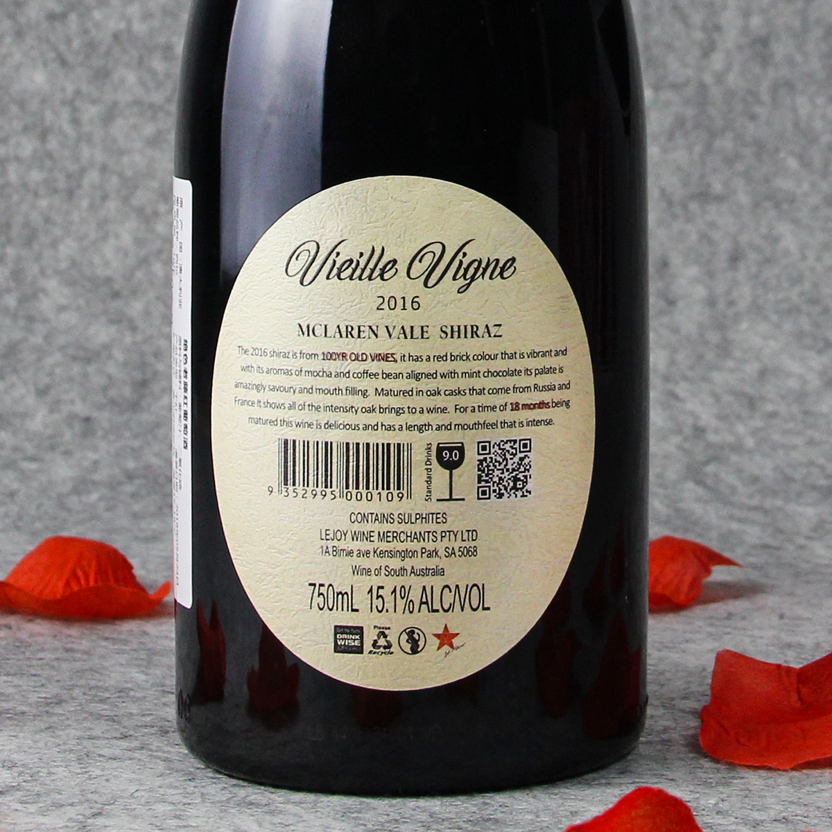 澳大利亚麦克拉伦谷产区酒满酒庄西拉绝色百年老藤干红葡萄酒