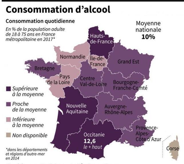 法国酒精消费地域分布统计数据出炉