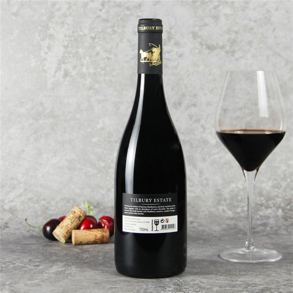 澳大利亚石灰岩海岸图柏利马车珍藏西拉红葡萄酒红酒