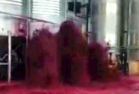 西班牙某酒庄金属酿酒罐突然爆裂,5万升红酒损失殆尽
