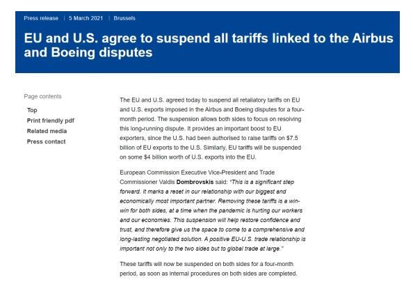 欧盟和美国暂停出口产品征收的报复性关税