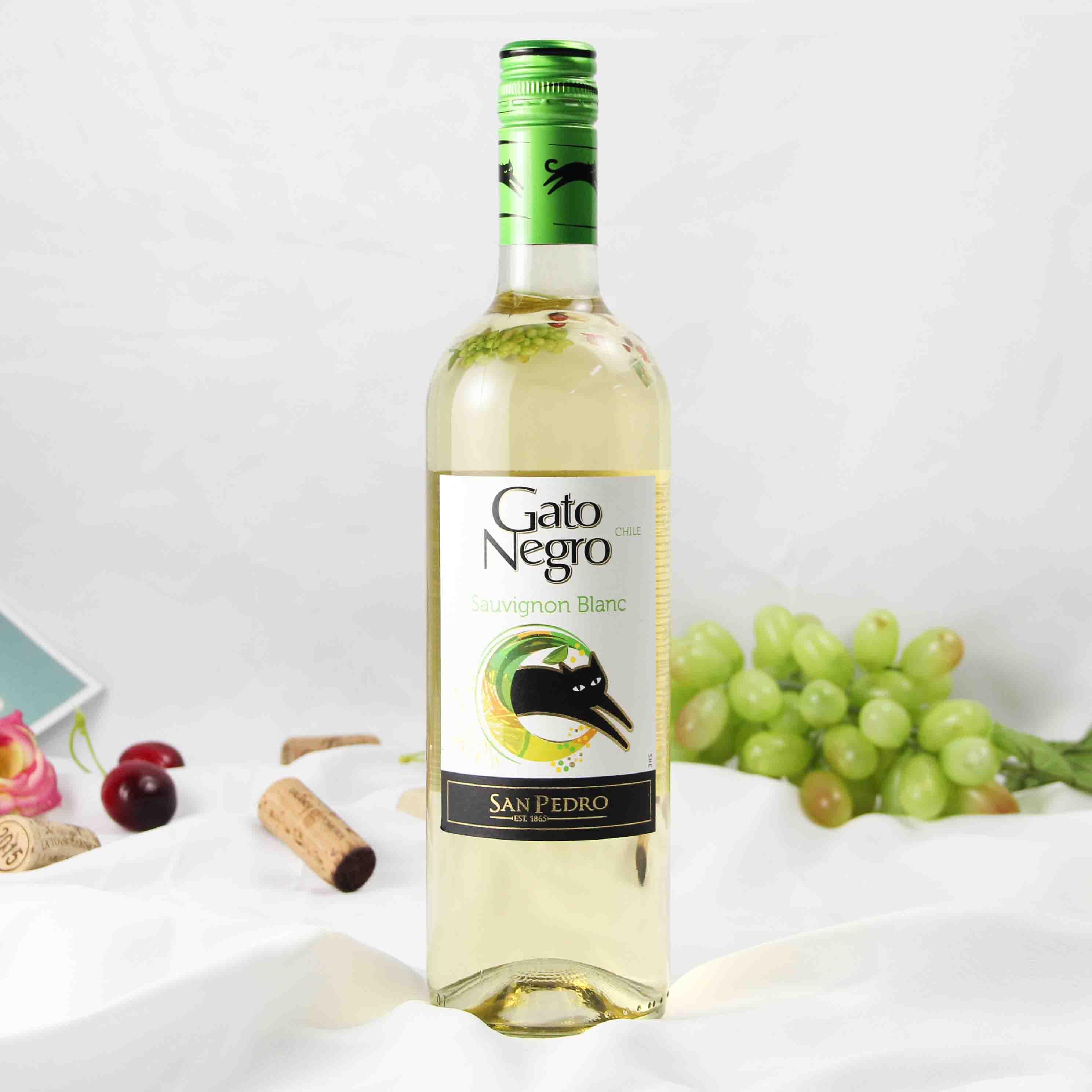智利中央山谷黑猫长相思白葡萄酒