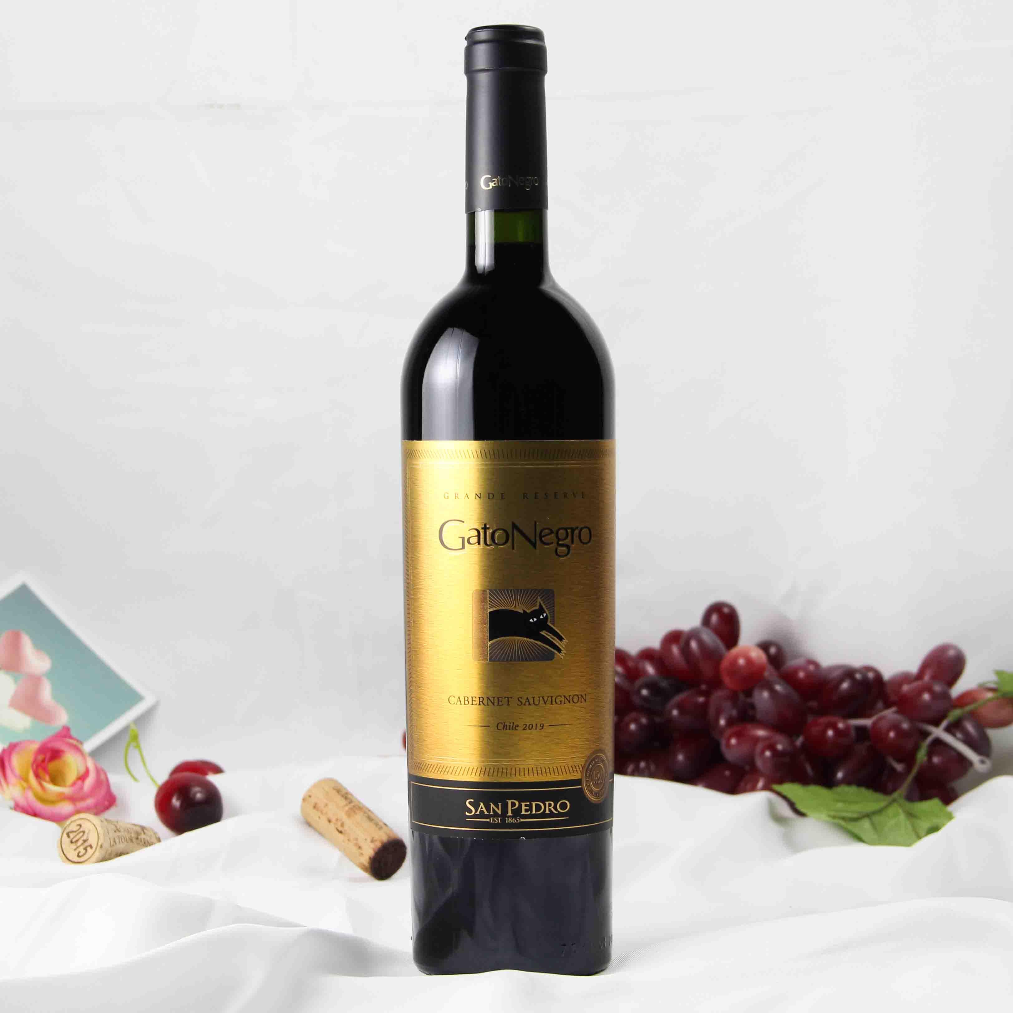 智利中央山谷黑猫赤霞珠特级珍藏红葡萄酒红酒