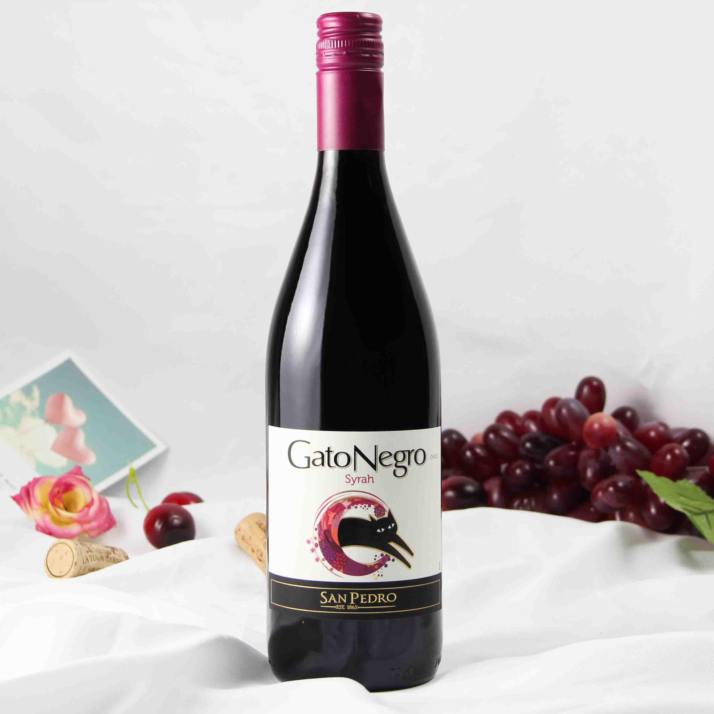 智利中央山谷黑猫西拉红葡萄酒红酒
