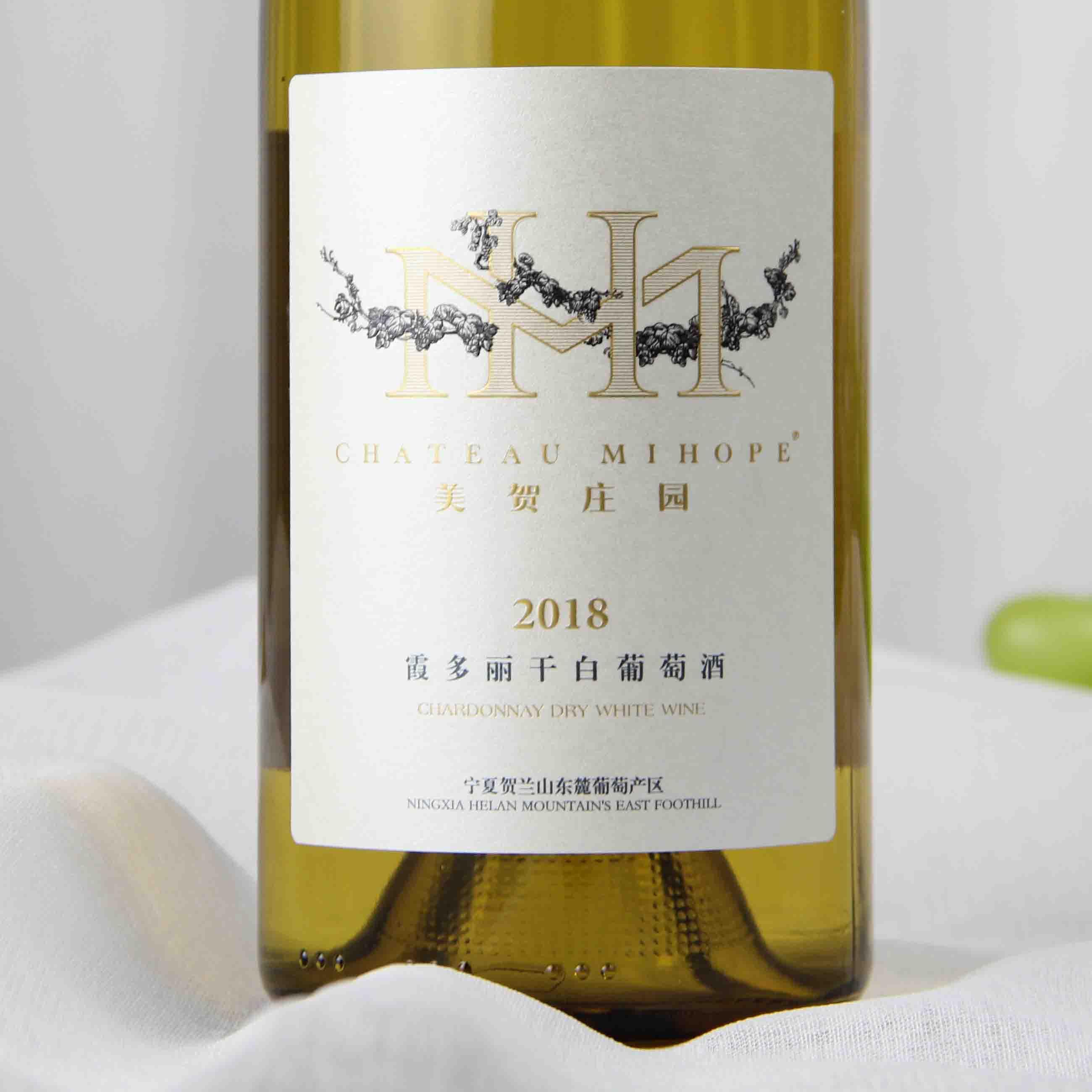 中国宁夏区美贺庄园2018霞多丽干白葡萄酒