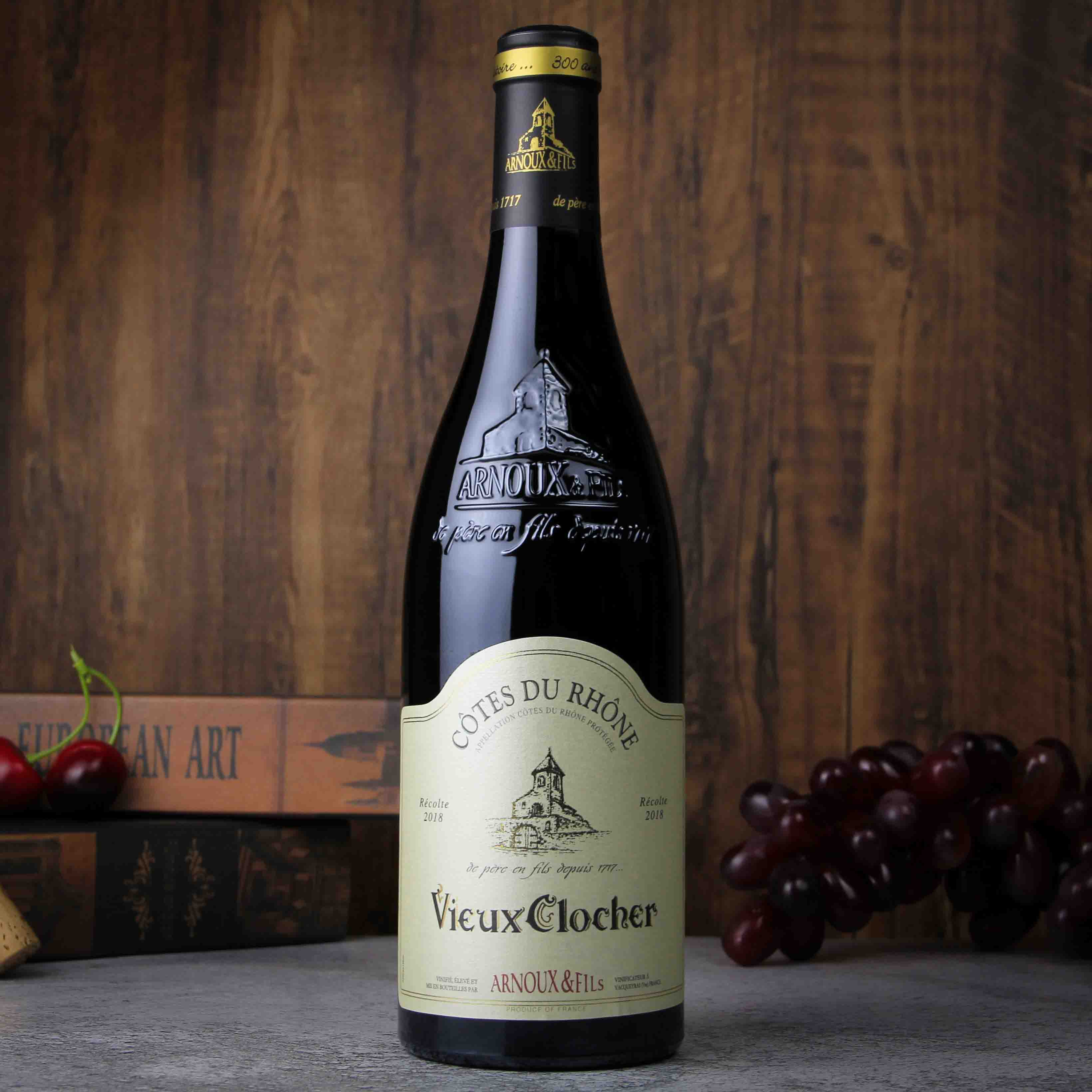 法国老钟楼罗纳河谷干红葡萄酒