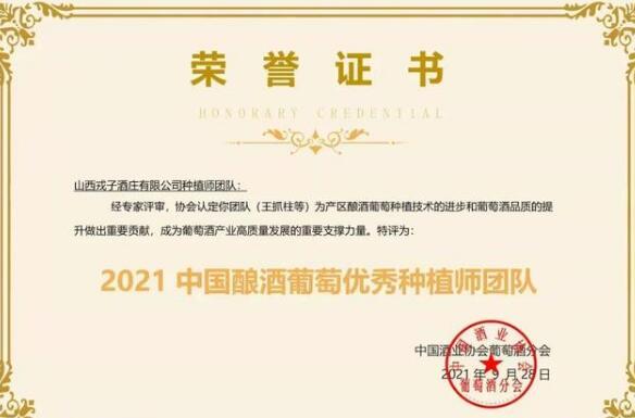 戎子酒庄种植师团队被评选为2021中国酿酒葡萄优秀种植师团队